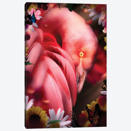 Flamingo With Flowers Canvas Print #MNU23} by Manuel Luces Canvas Artwork