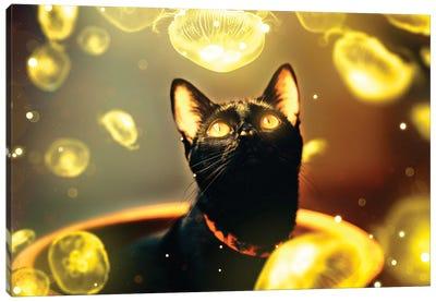 Black Cat With Jellyfish Canvas Art Print