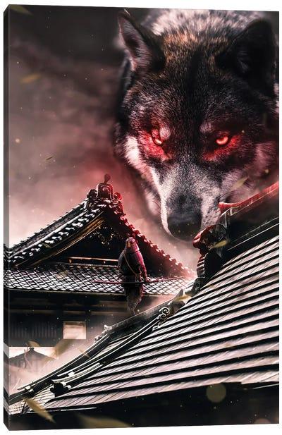 Samurai Vs Wolf Canvas Art Print