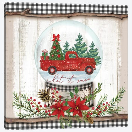 Let it Snow Red Truck Canvas Print #MOB13} by Mollie B. Canvas Art Print