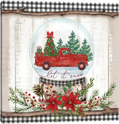 Let it Snow Red Truck Canvas Art Print
