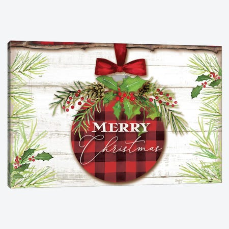 Merry Christmas Ornament Canvas Print #MOB16} by Mollie B. Canvas Artwork