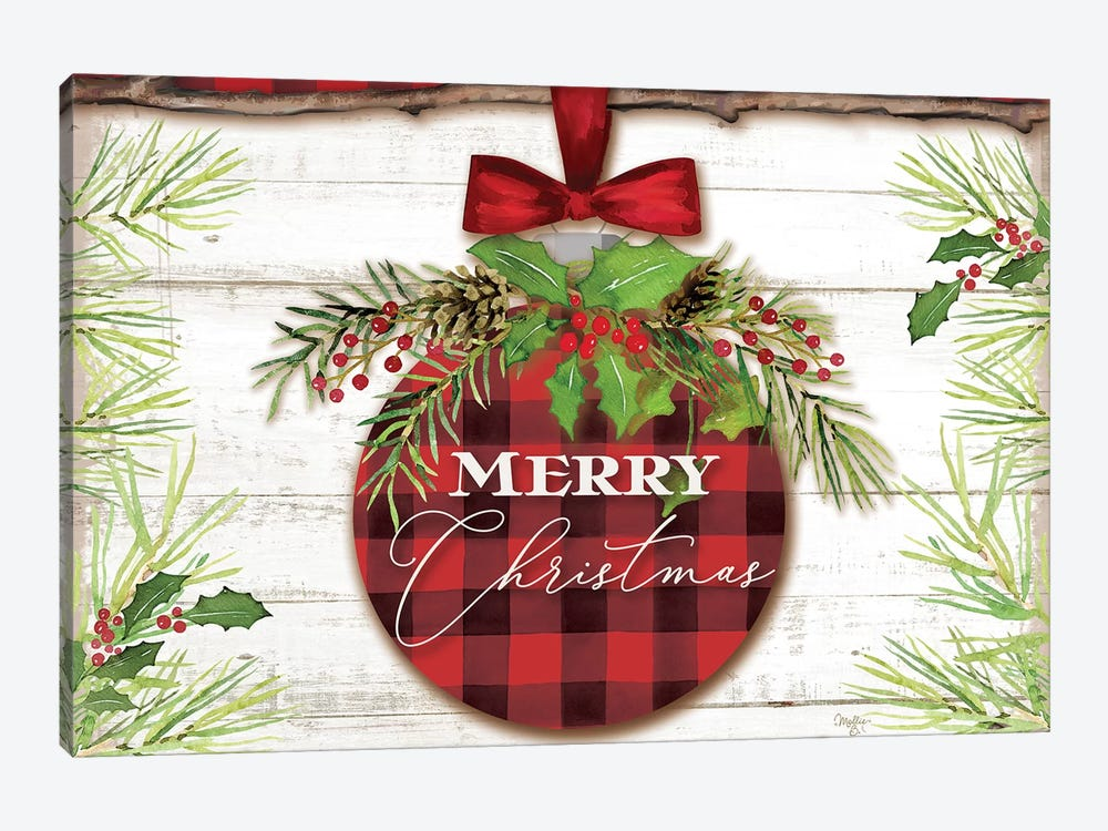Merry Christmas Ornament by Mollie B. 1-piece Canvas Wall Art