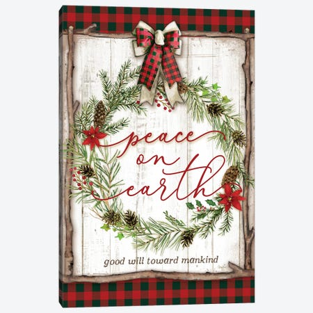 Peace on Earth Buffalo Plaid Canvas Print #MOB23} by Mollie B. Canvas Artwork