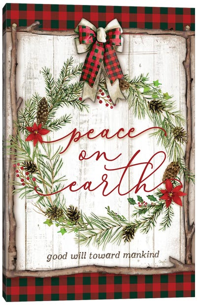 Peace on Earth Buffalo Plaid Canvas Art Print