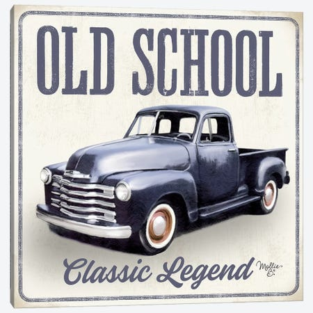 Old School Vintage Trucks IV Canvas Print #MOB34} by Mollie B. Canvas Art