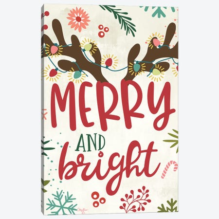 Merry And Bright Canvas Print #MOB39} by Mollie B. Art Print