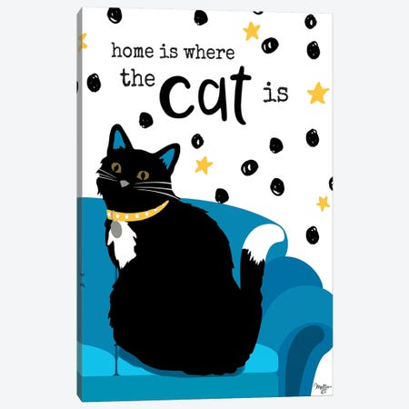 Home is Where the Cat is 3-Piece Canvas #MOB3} by Mollie B. Art Print