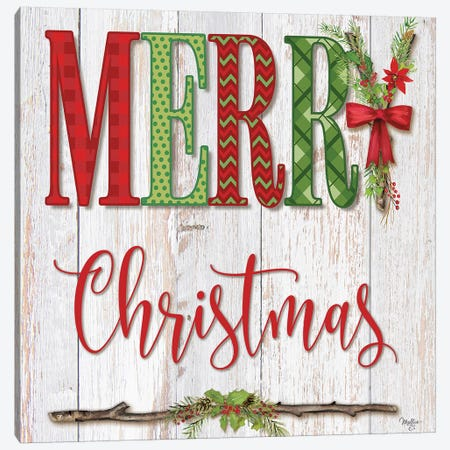 Merry Christmas Canvas Print #MOB40} by Mollie B. Canvas Art