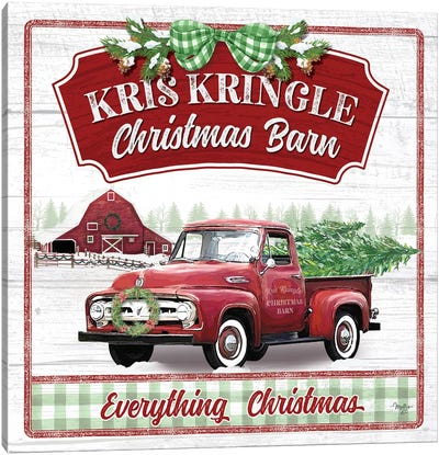 Kris Kringle Christmas Barn Canvas Art Print