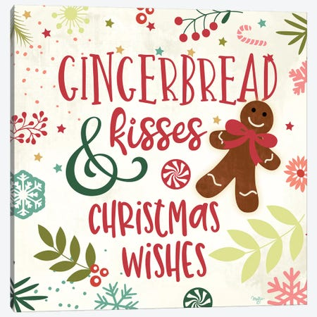 Gingerbread Kisses Canvas Print #MOB8} by Mollie B. Art Print