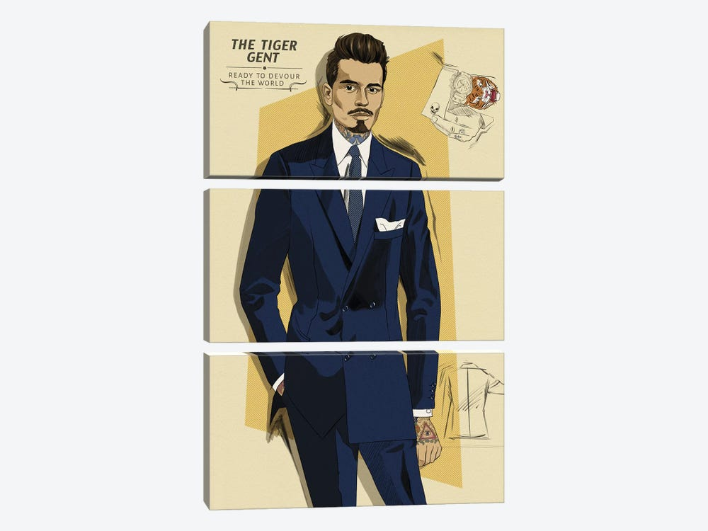 The Tiger Gent by 5by5collective 3-piece Canvas Art