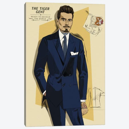 The Tiger Gent Canvas Print #MODG2} by 5by5collective Art Print