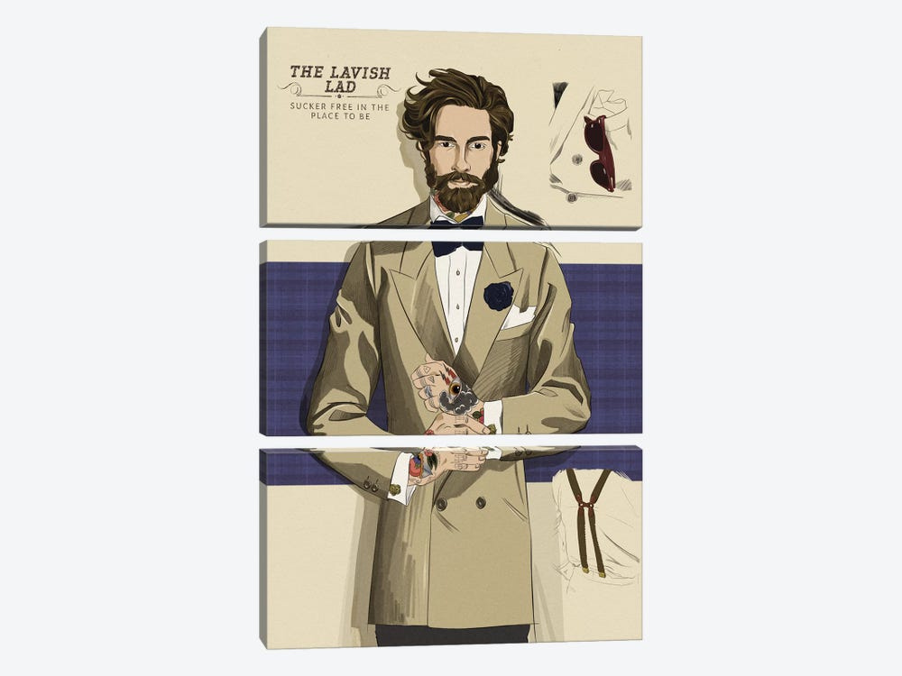 The Lavish Lad 3-piece Canvas Artwork