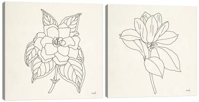 Floral Line Drawing Diptych Canvas Art Print