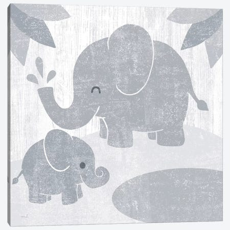 Safari Fun Elephant Gray no Border Canvas Print #MOH33} by Moira Hershey Art Print