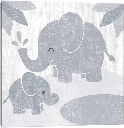 Safari Fun Elephant Gray no Border Canvas Art Print