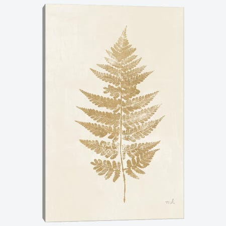 Fern Print I Gold No Shiplap 3-Piece Canvas #MOH77} by Moira Hershey Canvas Artwork