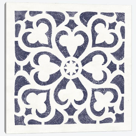Hacienda Tile III Navy Canvas Print #MOH83} by Moira Hershey Canvas Art