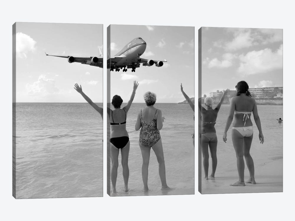 Airplanes #21 by Moises Levy 3-piece Canvas Artwork