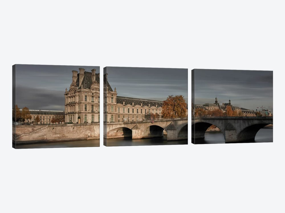 Louvre In Autumn by Moises Levy 3-piece Canvas Wall Art