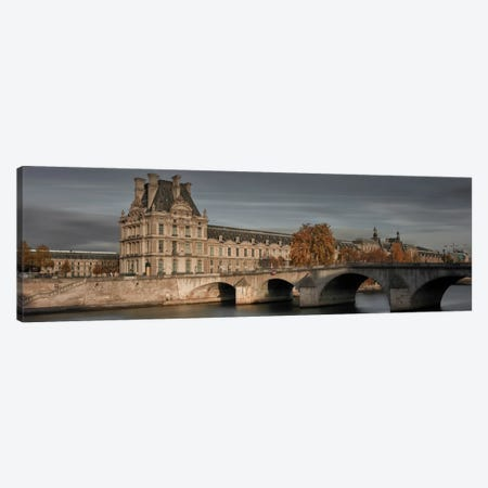 Louvre In Autumn 3-Piece Canvas #MOL177} by Moises Levy Art Print