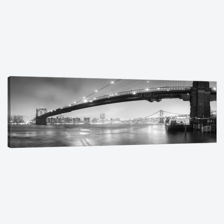 Brooklin Bridge Pano #1 (black & white) Canvas Print #MOL5bw} by Moises Levy Canvas Art