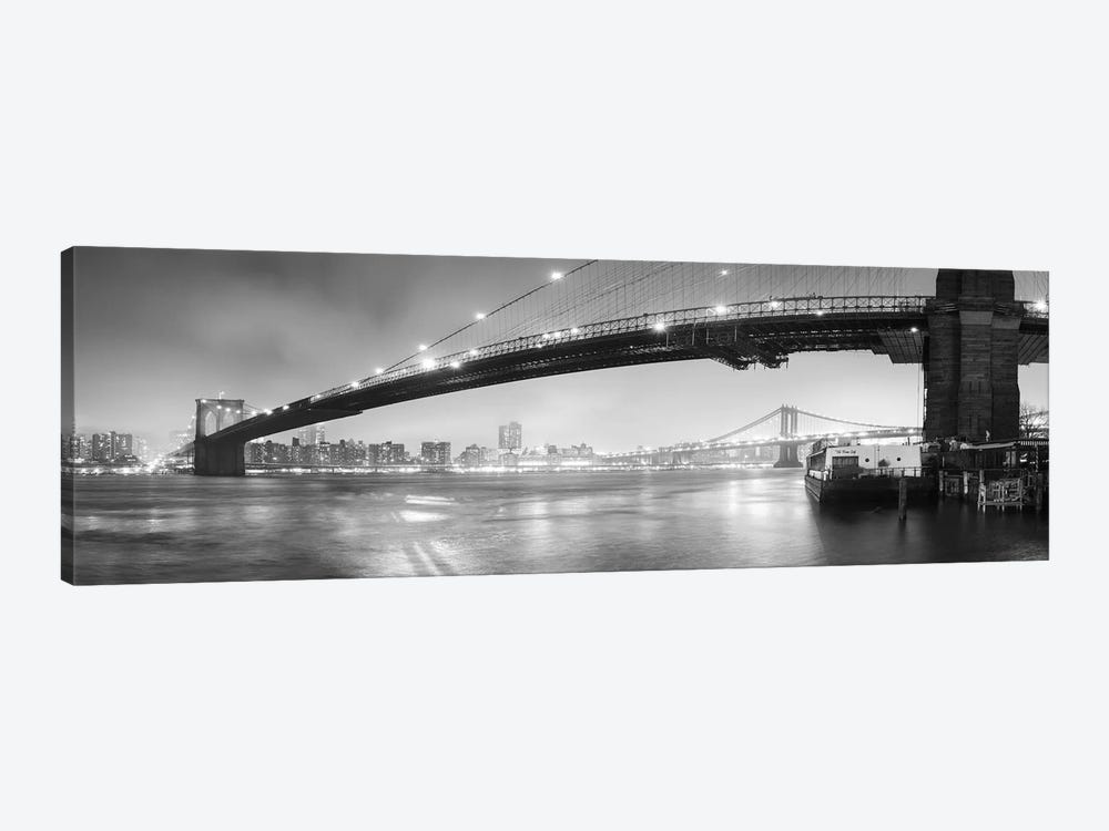 Brooklin Bridge Pano #1 (black & white) by Moises Levy 1-piece Canvas Art Print