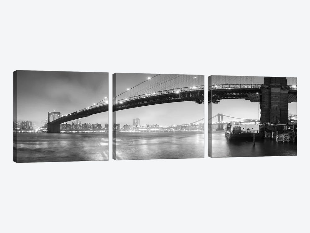 Brooklin Bridge Pano #1 (black & white) by Moises Levy 3-piece Art Print