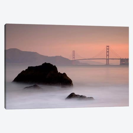 Rocks And Golden Gate Bridge Canvas Print #MOL80} by Moises Levy Canvas Art