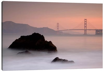 Rocks And Golden Gate Bridge Canvas Art Print