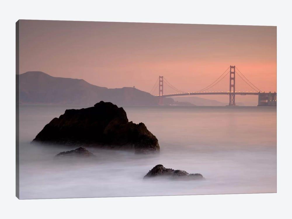 Rocks And Golden Gate Bridge Canvas Wall Art By Moises