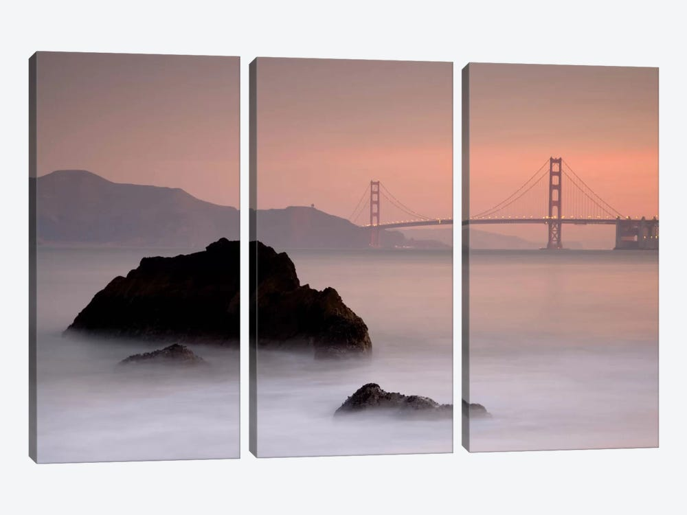 Rocks And Golden Gate Bridge by Moises Levy 3-piece Canvas Artwork