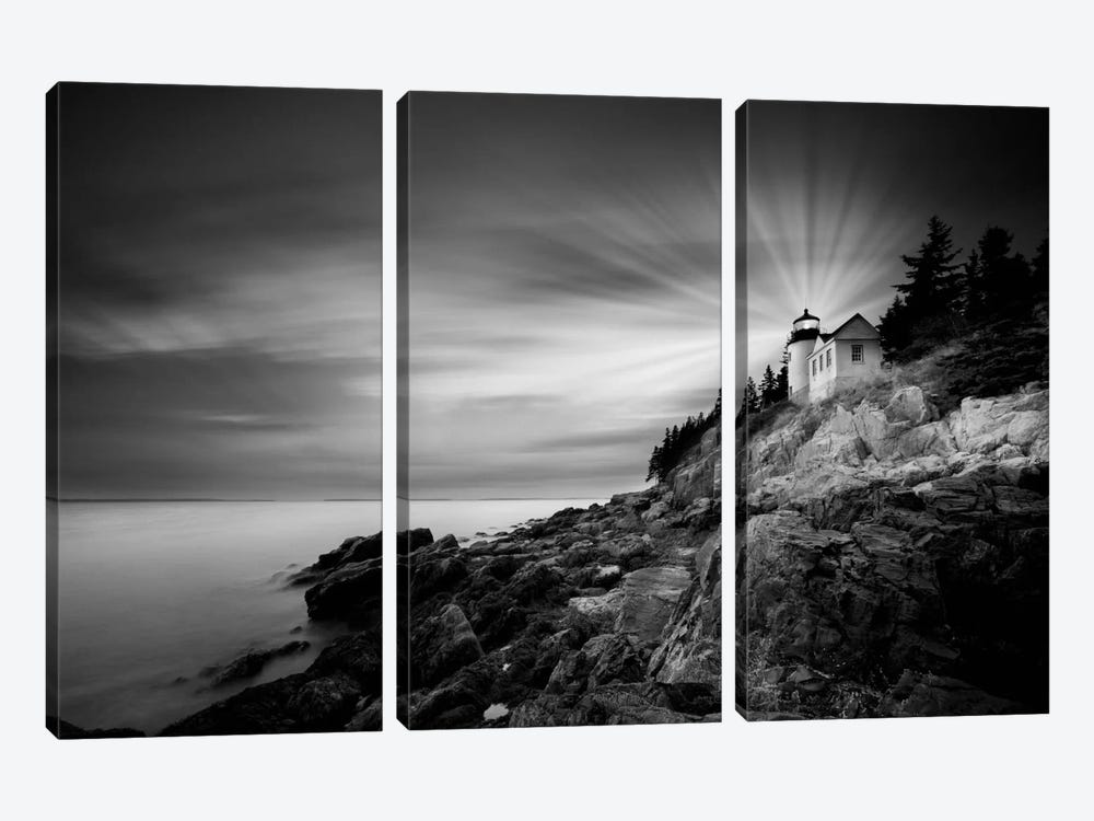 Bass Harbor Lighthouse by Moises Levy 3-piece Canvas Art