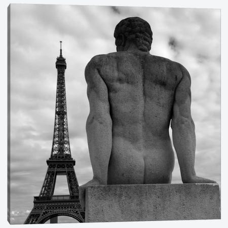 Eiffel and Man Canvas Print #MOL92} by Moises Levy Canvas Art Print