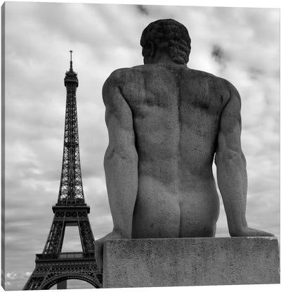 Eiffel and Man Canvas Art Print