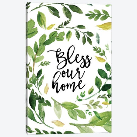 Bless Our Home Wreath Canvas Print #MOS5} by Tara Moss Canvas Art