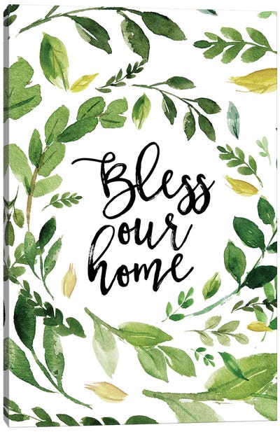 Bless Our Home Wreath Canvas Art Print