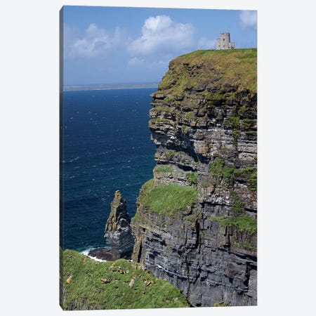 Scenic Cliffs Of Moher And O'Brien's Tower Under A Blue Sky And White Puffy Clouds With Waves Of The Atlantic Ocean Below Canvas Print #MPA10} by Marilyn Parver Canvas Print