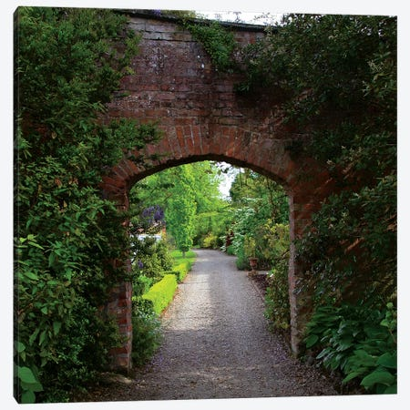 Ireland, The Dromoland Castle Very Green Walled Garden Path Through A Brick Archway. Canvas Print #MPA9} by Marilyn Parver Canvas Art Print
