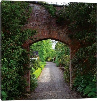 Ireland, The Dromoland Castle Very Green Walled Garden Path Through A Brick Archway. Canvas Art Print