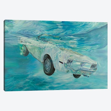 White Mustang Canvas Print #MPC31} by Marcello Petisci Art Print
