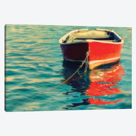 Red Boat Canvas Print #MPH118} by MScottPhotography Canvas Wall Art