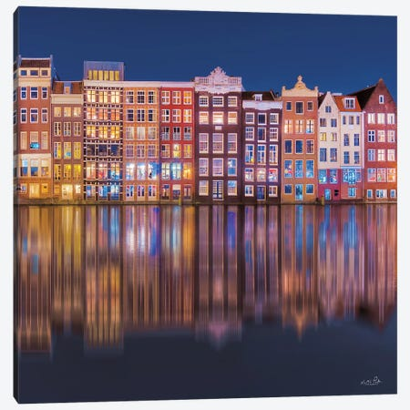 Building Row Reflections I Canvas Print #MPO180} by Martin Podt Canvas Artwork