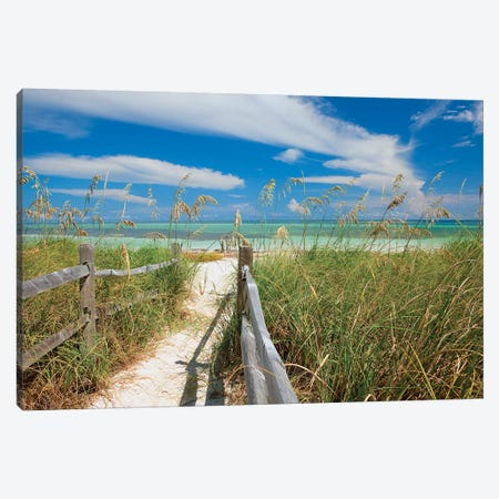 Beachscape With Sea Oats, Bahia Honda State Park, Florida Keys, Florida, USA  Canvas Print #MPR1} by Maresa Pryor Canvas Art Print