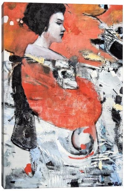 Red Sleeve Geisha Canvas Art Print