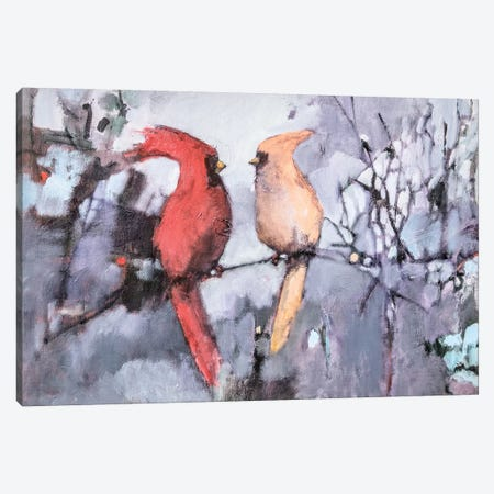 Winter Birds Canvas Print #MPT33} by Mary Pratt Canvas Wall Art