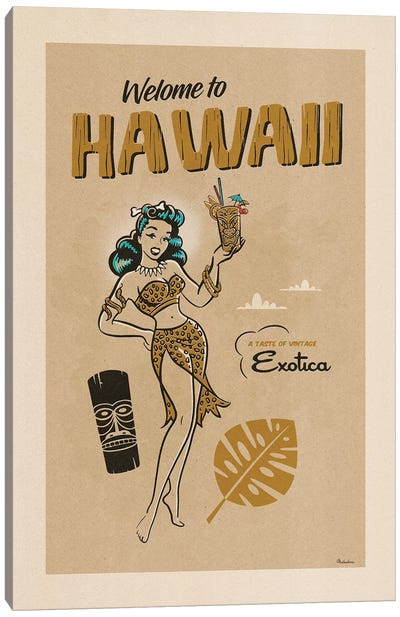 Hawaii Exotica Very Vintage Process Canvas Art Print
