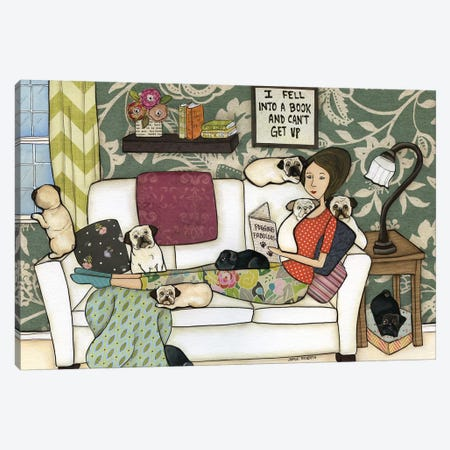 The Pug Book Canvas Print #MRH102} by Jamie Morath Art Print