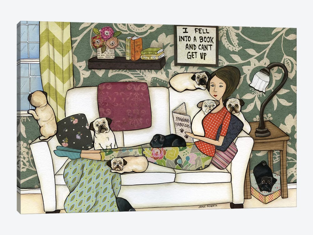 The Pug Book by Jamie Morath 1-piece Canvas Art Print